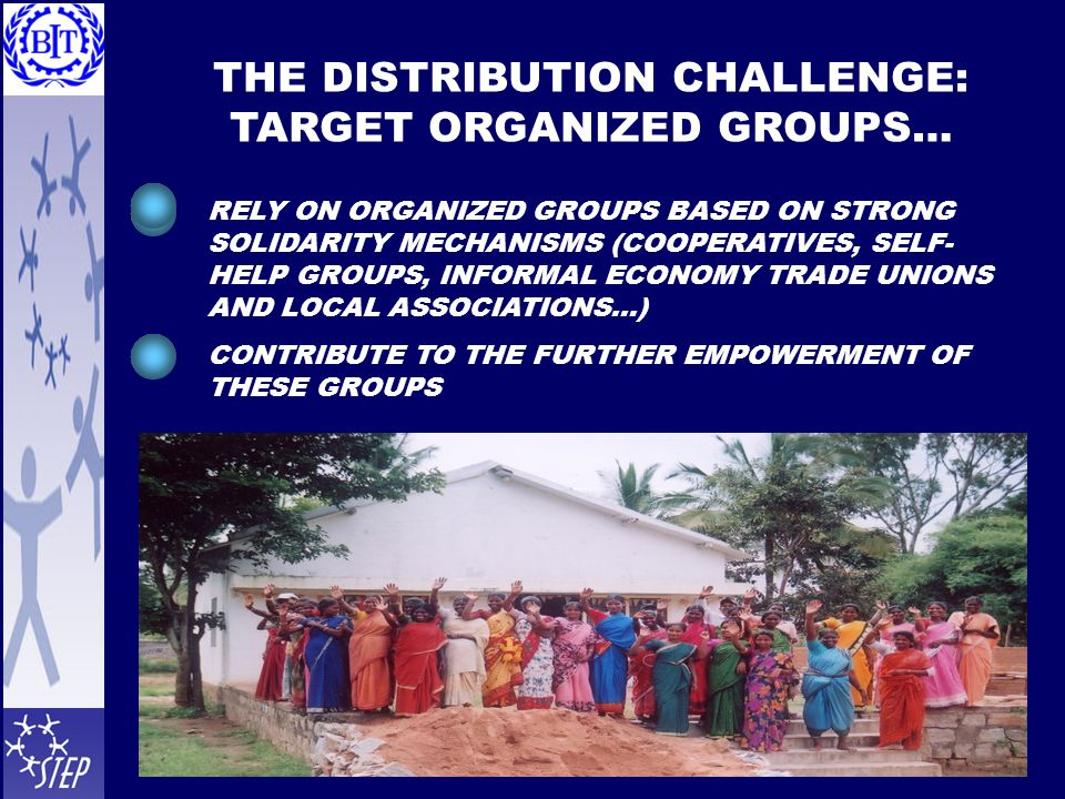 THE DISTRIBUTION CHALLENGE: TARGET ORGANIZED GROUPS… RELY ON ORGANIZED GROUPS BASED ON STRONG SOLIDARITY MECHANISMS (COOPERATIVES, SELF- HELP GROUPS, INFORMAL ECONOMY TRADE UNIONS AND LOCAL ASSOCIATIONS…) CONTRIBUTE TO THE FURTHER EMPOWERMENT OF THESE GROUPS