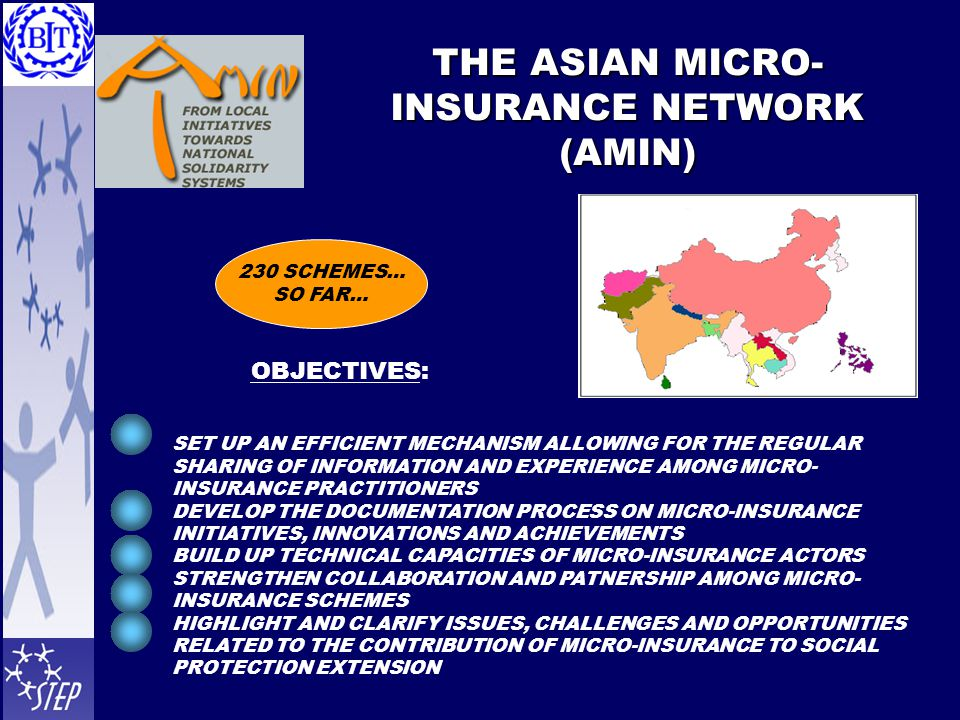 THE ASIAN MICRO- INSURANCE NETWORK (AMIN) 230 SCHEMES… SO FAR… SET UP AN EFFICIENT MECHANISM ALLOWING FOR THE REGULAR SHARING OF INFORMATION AND EXPERIENCE AMONG MICRO- INSURANCE PRACTITIONERS DEVELOP THE DOCUMENTATION PROCESS ON MICRO-INSURANCE INITIATIVES, INNOVATIONS AND ACHIEVEMENTS BUILD UP TECHNICAL CAPACITIES OF MICRO-INSURANCE ACTORS STRENGTHEN COLLABORATION AND PATNERSHIP AMONG MICRO- INSURANCE SCHEMES HIGHLIGHT AND CLARIFY ISSUES, CHALLENGES AND OPPORTUNITIES RELATED TO THE CONTRIBUTION OF MICRO-INSURANCE TO SOCIAL PROTECTION EXTENSION OBJECTIVES: