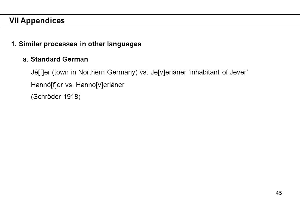 45 VII Appendices 1.Similar processes in other languages a.