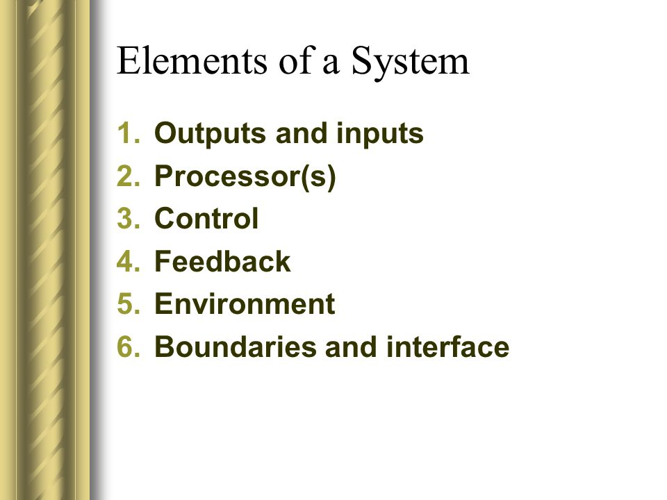 1.Outputs and inputs 2.Processor(s) 3.Control 4.Feedback 5.Environment 6.Boundaries and interface Elements of a System