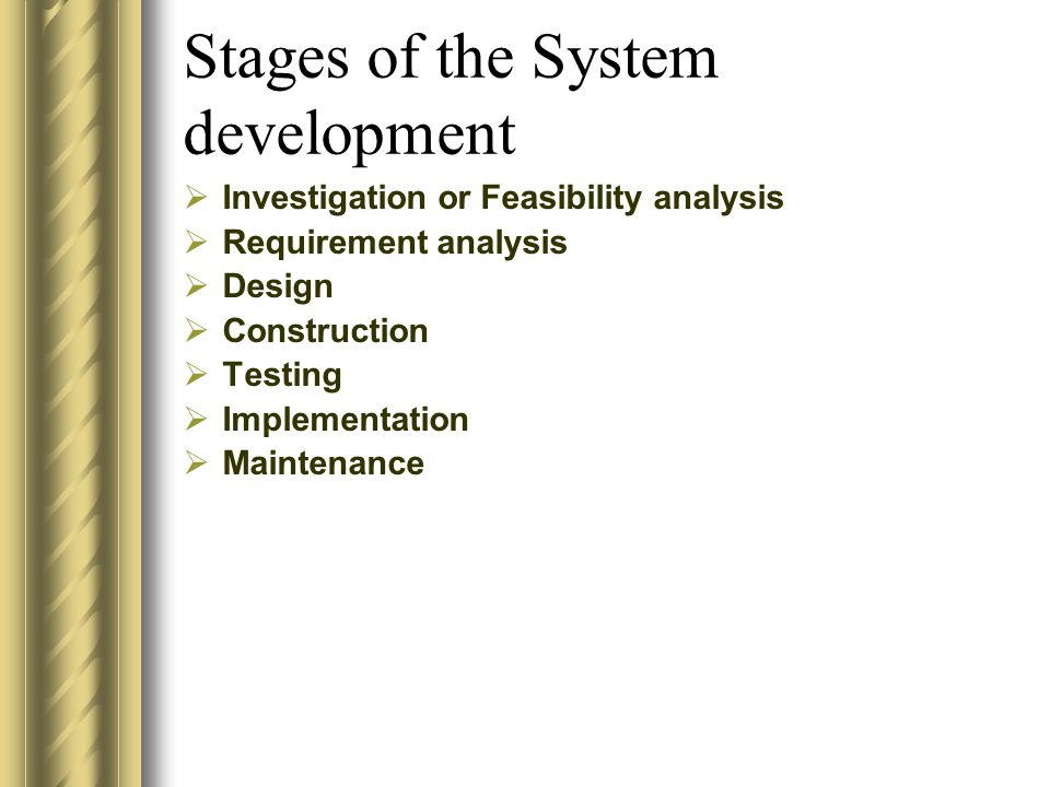 Stages of the System development  Investigation or Feasibility analysis  Requirement analysis  Design  Construction  Testing  Implementation  M