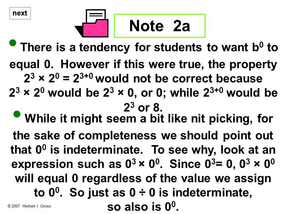 next Note 2a © 2007 Herbert I.Gross There is a tendency for students to want b 0 to equal 0.