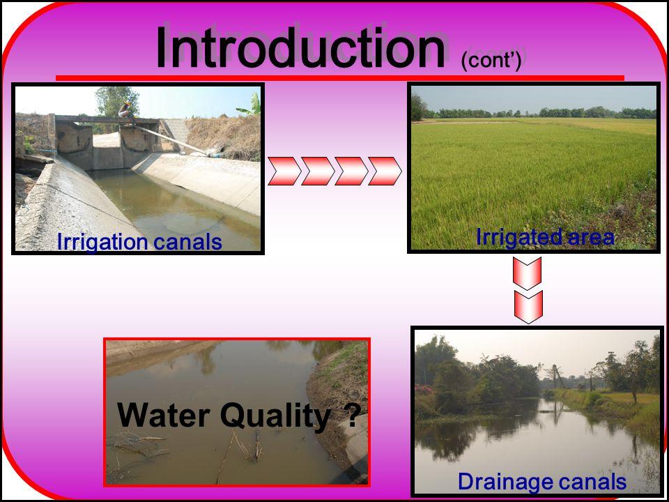 ParametersUnit Irrigation canalsDrainage canals RangeAverageRangeAverage pH-6.78-9.717.586.59-7.797.36 Conductivityµm/cm122.73-369.80185.02104.30-413.80217.10 Temperature°C26.03-33.1729.9325.37-32.4028.75 TurbidityNTU6.62-126.3348.837.03-111.0031.38 DOmg/l1.0-8.974.370.8-4.83.27 BODmg/l0.53-6.773.180.25-5.371.89 Department of Environmental Science, Thammasat University