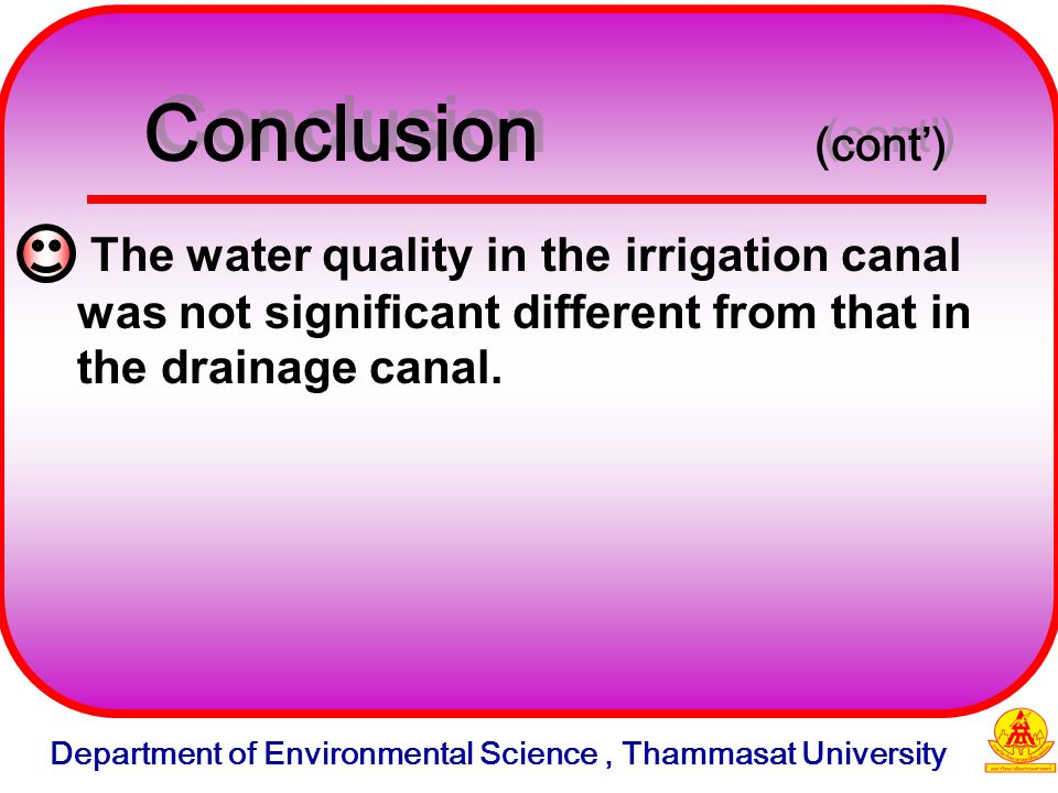 The water quality in the irrigation canal was not significant different from that in the drainage canal.