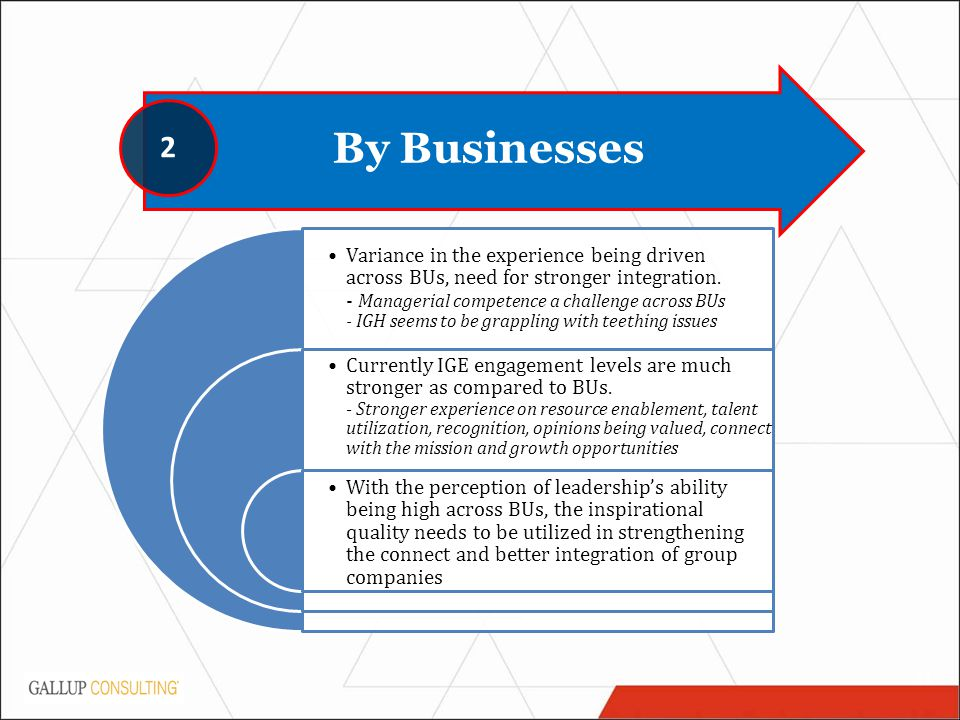 11 By Businesses 2 Variance in the experience being driven across BUs, need for stronger integration.