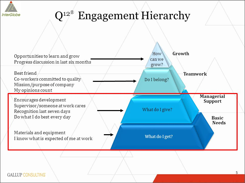 Q 12 ® Engagement Hierarchy What do I get.What do I give.