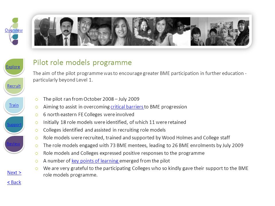 Pilot role models programme The aim of the pilot programme was to encourage greater BME participation in further education - particularly beyond Level 1.