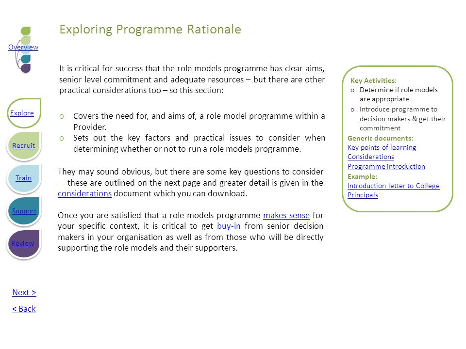 Key Activities: oDetermine if role models are appropriate oIntroduce programme to decision makers & get their commitment Generic documents: Key points of learning Considerations Programme introduction Example: Introduction letter to College Principals They may sound obvious, but there are some key questions to consider – these are outlined on the next page and greater detail is given in the considerations document which you can download.