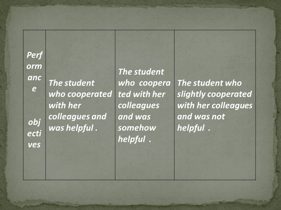 The student who slightly cooperated with her colleagues and was not helpful.