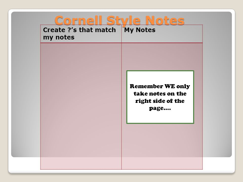 Cornell Style Notes Create 's that match my notes My Notes Remember WE only take notes on the right side of the page….