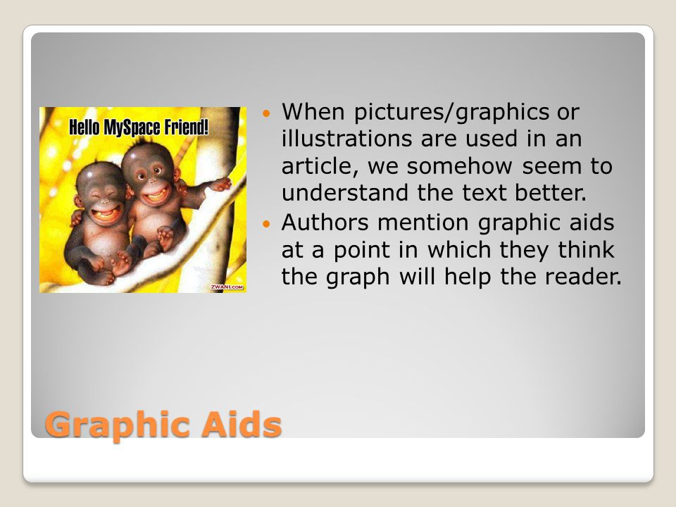 Graphic Aids When pictures/graphics or illustrations are used in an article, we somehow seem to understand the text better.