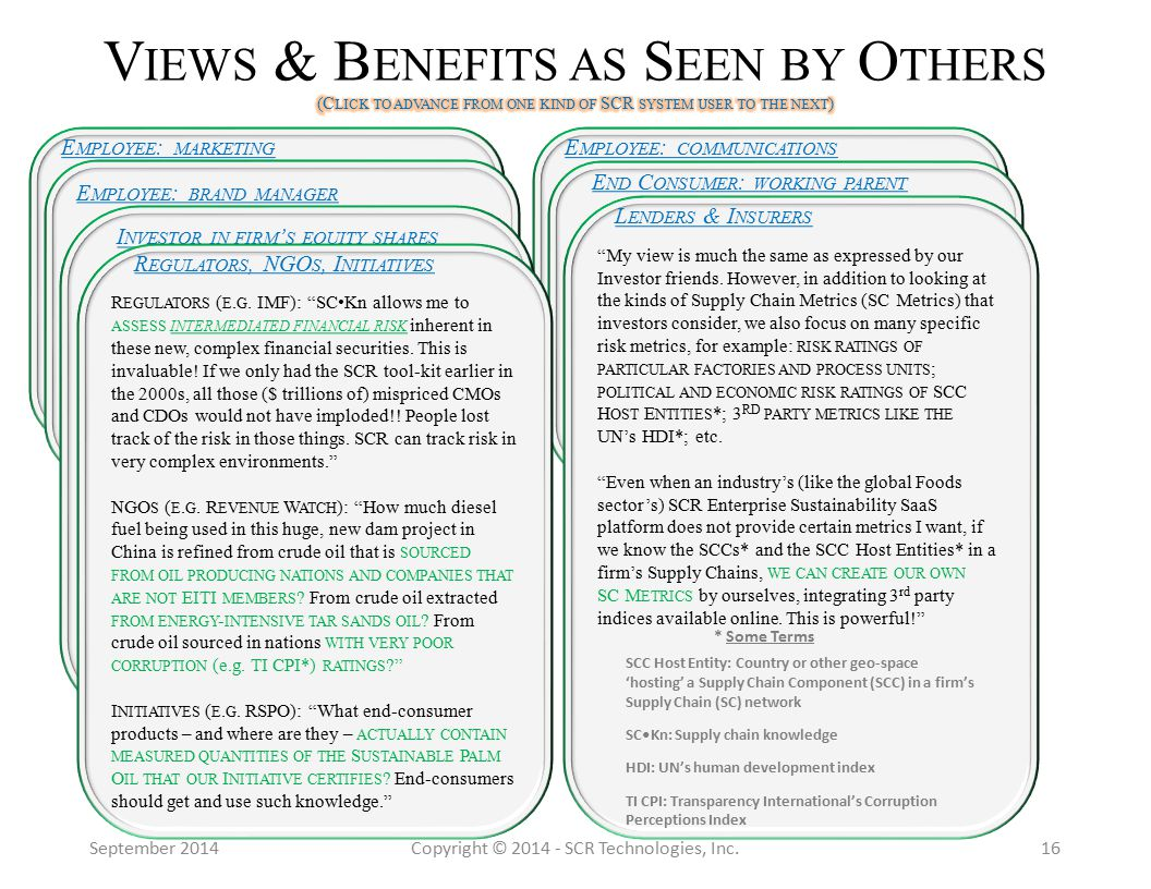 September 2014Copyright © 2014 - SCR Technologies, Inc.16 E MPLOYEE : MARKETING My company's Metastory is about what we are DOING and what we are becoming.