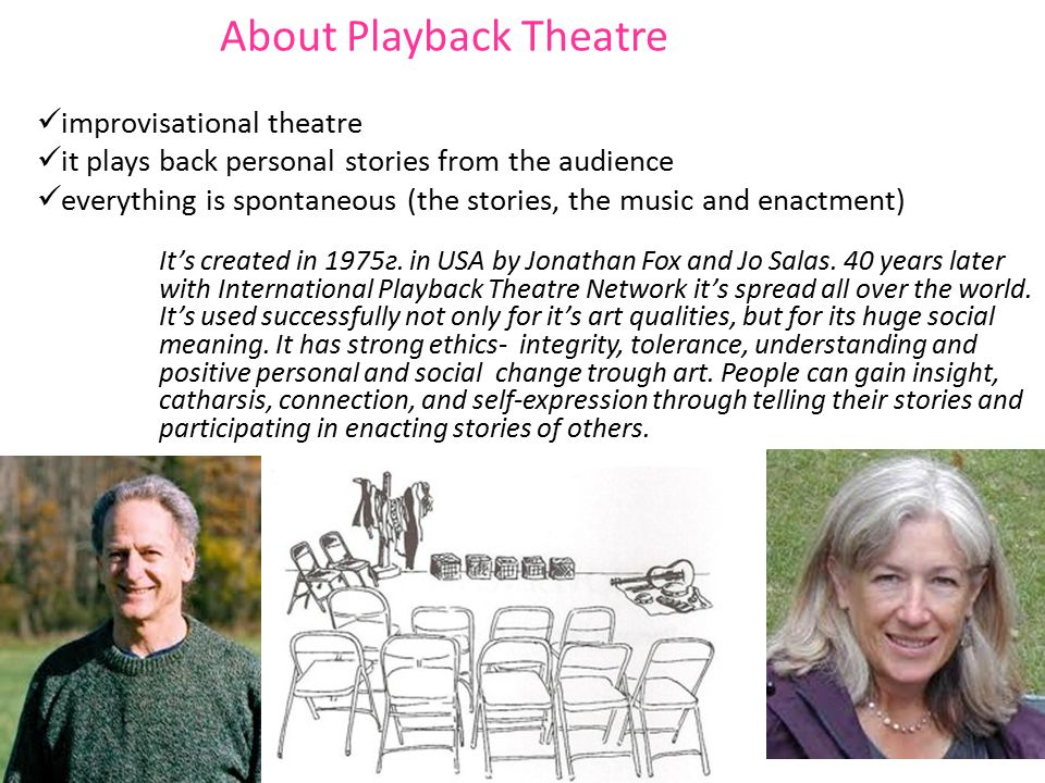 About Playback Theatre improvisational theatre it plays back personal stories from the audience everything is spontaneous (the stories, the music and