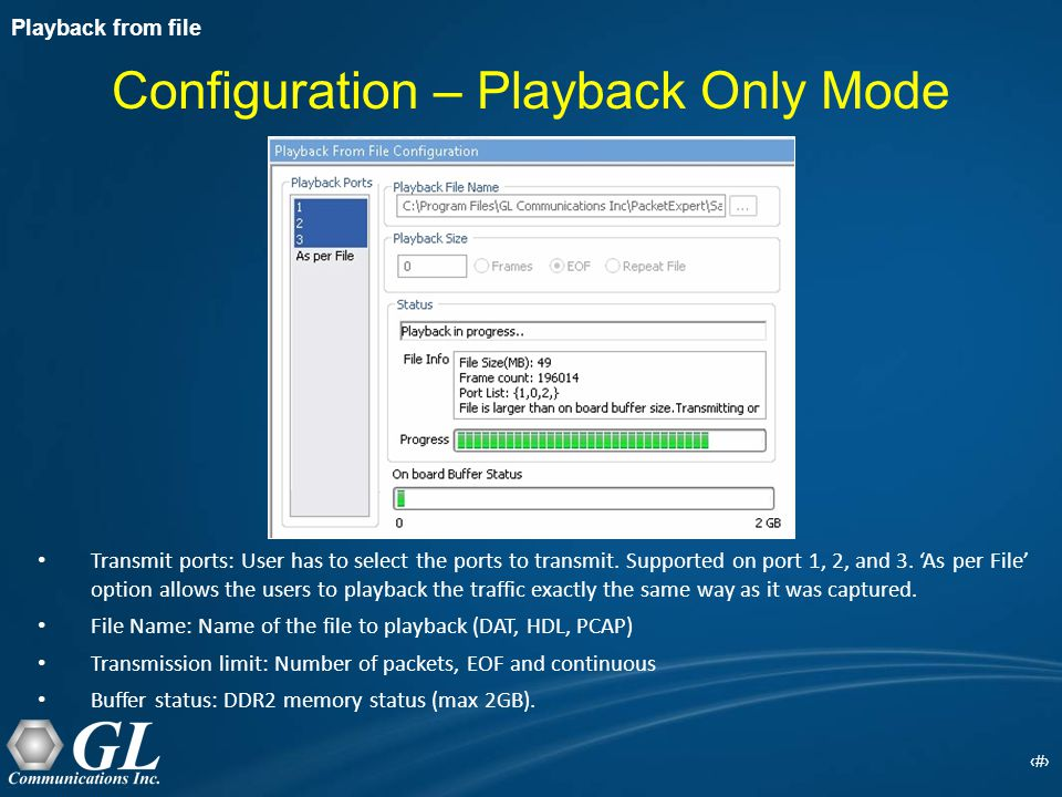 18 Configuration – Playback Only Mode Transmit ports: User has to select the ports to transmit.
