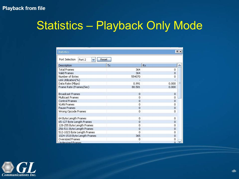 20 Statistics – Playback Only Mode Playback from file