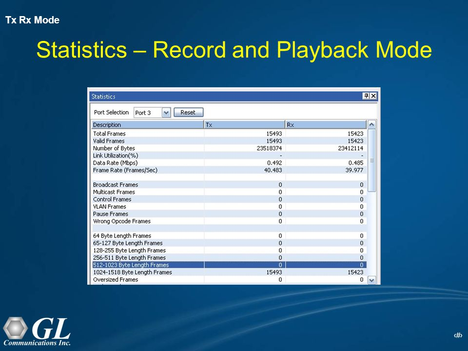 23 Statistics – Record and Playback Mode Tx Rx Mode