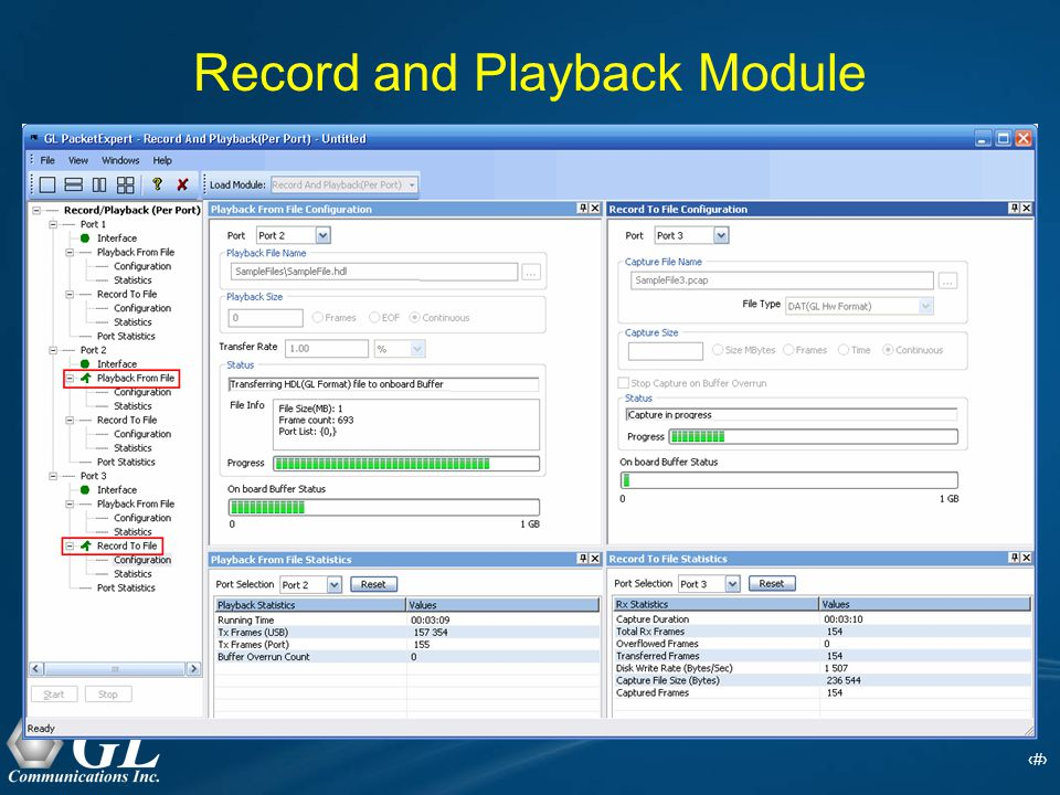 10 Record and Playback Module Record Only mode  capture packets to files simultaneously on 2 ports and on either port  onboard 2 GB memory is available for wirespeed capture Playback Only mode  Playback on upto 3 ports simultaneously  onboard 2 GB memory is available for transmission Record and Playback mode  capture and transmission of packets can be done on up to 3 ports simultaneously  onboard 1 GB memory each is available for capturing and transmission of data.