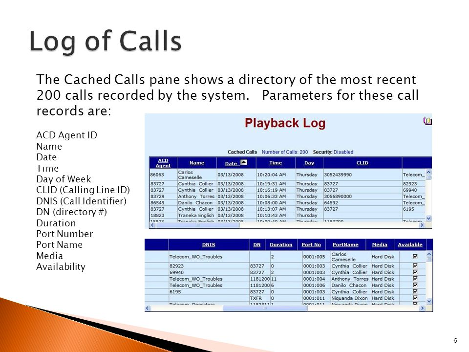 6 The Cached Calls pane shows a directory of the most recent 200 calls recorded by the system.