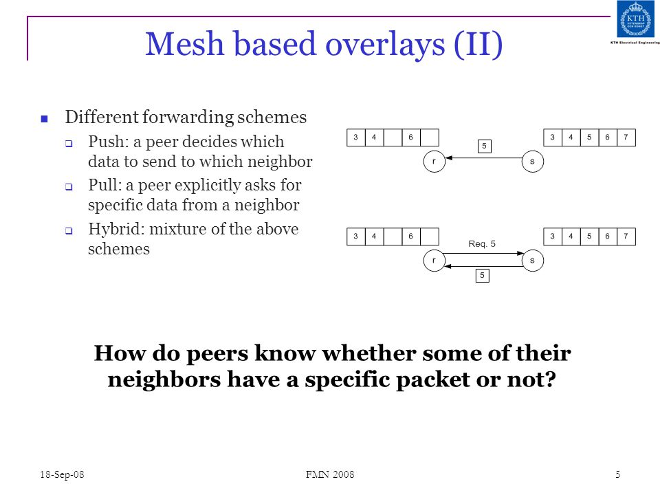 18-Sep-08 FMN 2008 5 Mesh based overlays (II) Different forwarding schemes  Push: a peer decides which data to send to which neighbor  Pull: a peer