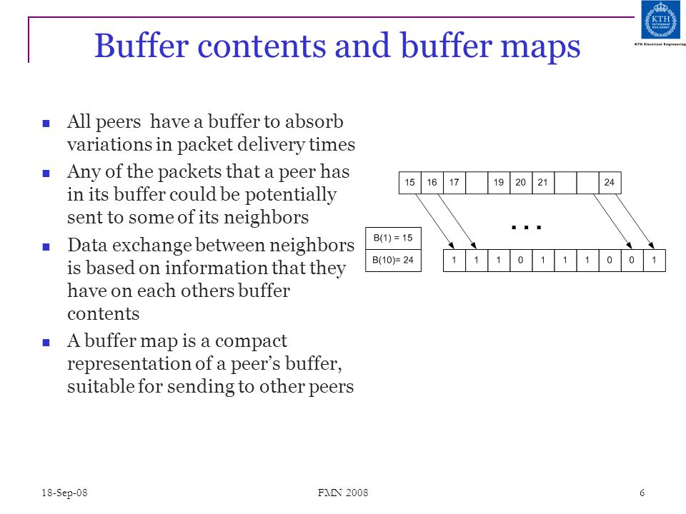 18-Sep-08 FMN 2008 6 Buffer contents and buffer maps All peers have a buffer to absorb variations in packet delivery times Any of the packets that a p