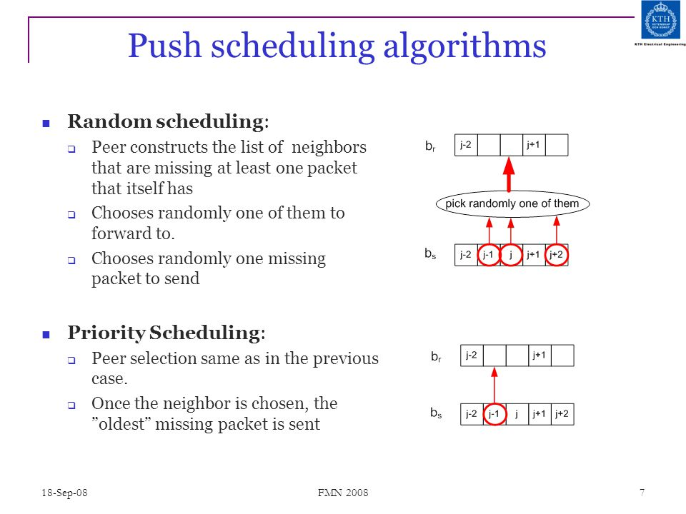 18-Sep-08 FMN 2008 7 Push scheduling algorithms Random scheduling:  Peer constructs the list of neighbors that are missing at least one packet that i