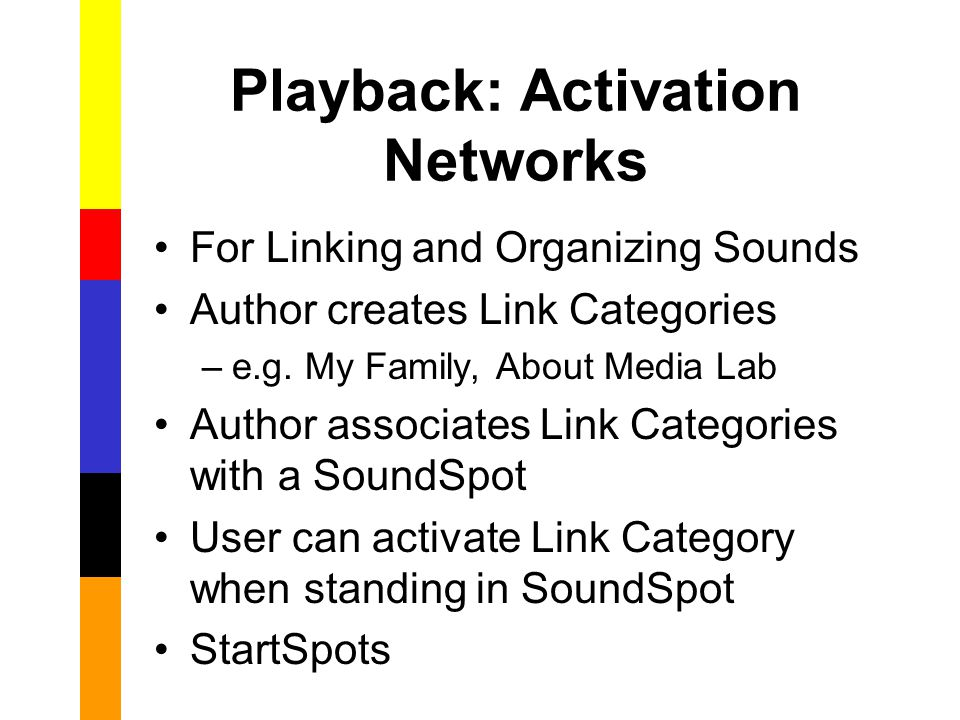 Playback: Activation Networks For Linking and Organizing Sounds Author creates Link Categories –e.g.