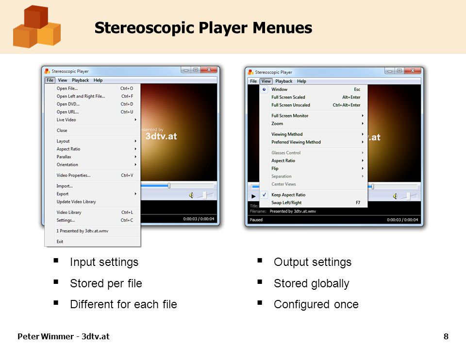 Stereoscopic Player Menues  Input settings  Stored per file  Different for each file  Output settings  Stored globally  Configured once Peter Wimmer - 3dtv.at8