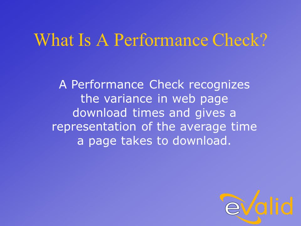What Is A Performance Check.