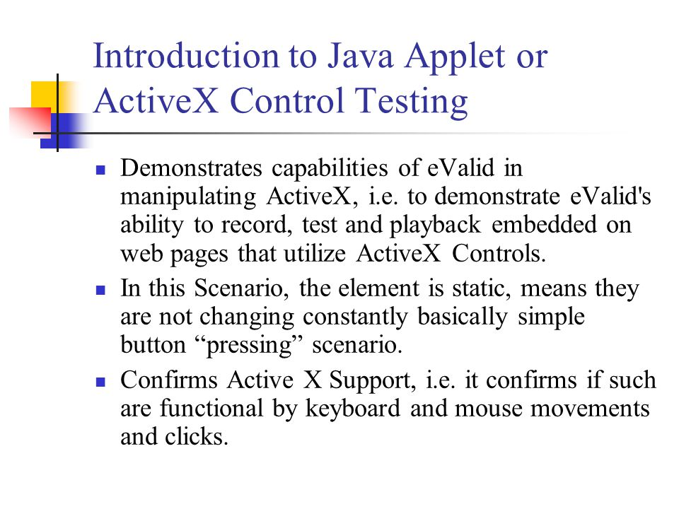 Procedures to create the test Start the test by going to the Web page with the Java Applet.