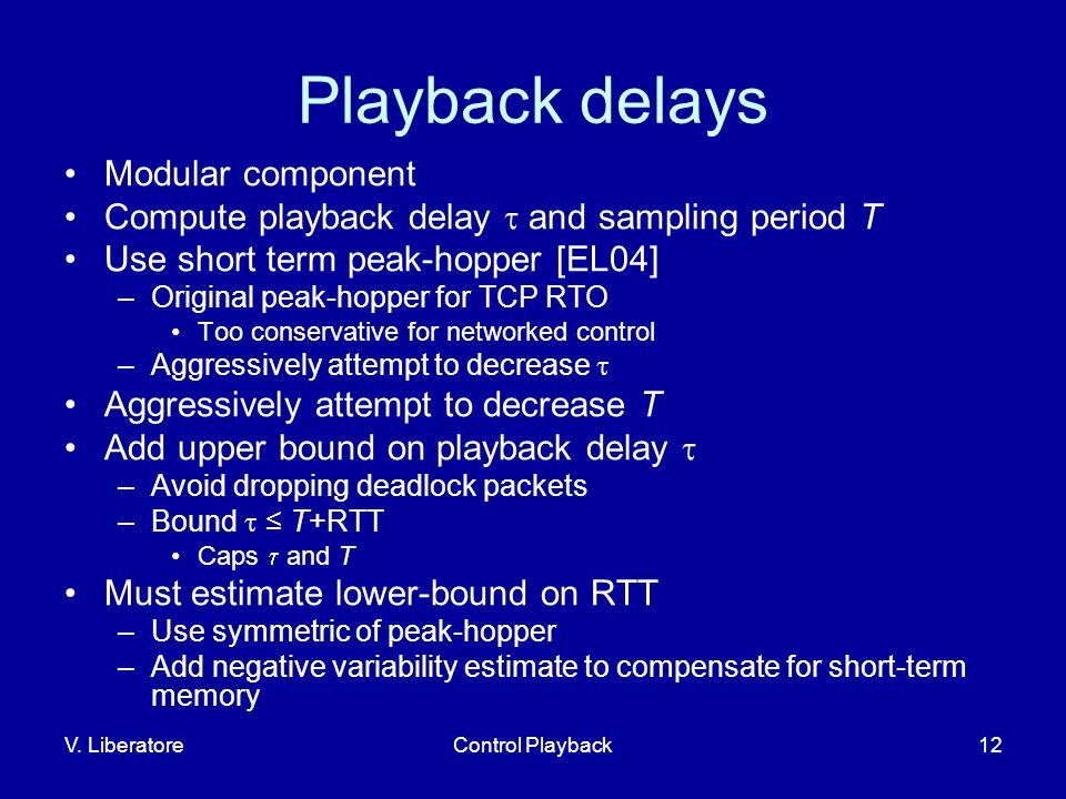 V. LiberatoreControl Playback12 Playback delays Modular component Compute playback delay  and sampling period T Use short term peak-hopper [EL04] –Or