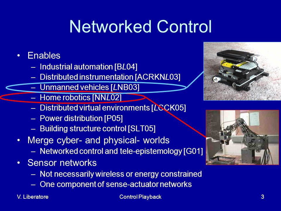 V. LiberatoreControl Playback3 Networked Control Enables –Industrial automation [BL04] –Distributed instrumentation [ACRKNL03] –Unmanned vehicles [LNB