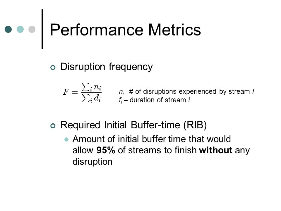 Performance Metrics Disruption frequency Required Initial Buffer-time (RIB) Amount of initial buffer time that would allow 95% of streams to finish wi