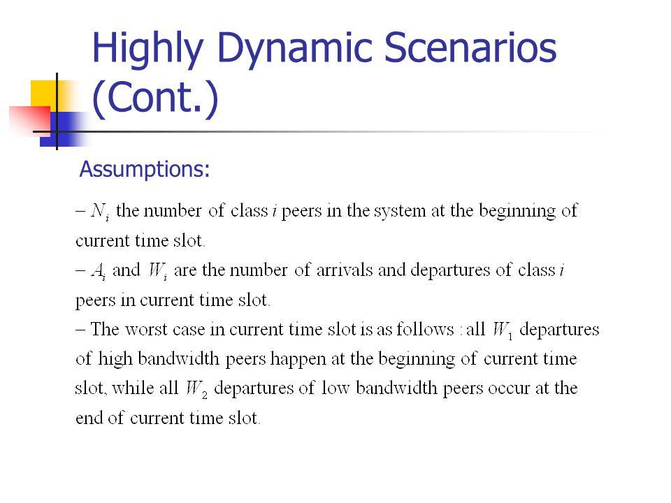 Highly Dynamic Scenarios (Cont.) Assumptions: