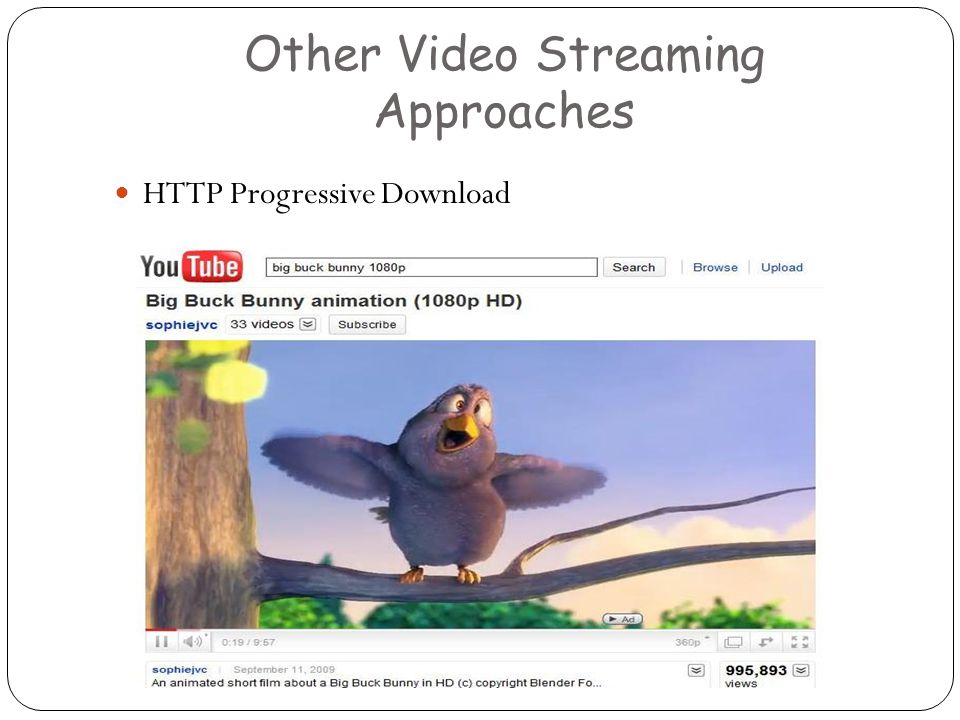 Other Video Streaming Approaches HTTP Progressive Download