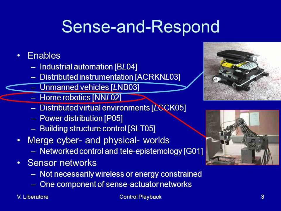 V. LiberatoreControl Playback3 Sense-and-Respond Enables –Industrial automation [BL04] –Distributed instrumentation [ACRKNL03] –Unmanned vehicles [LNB