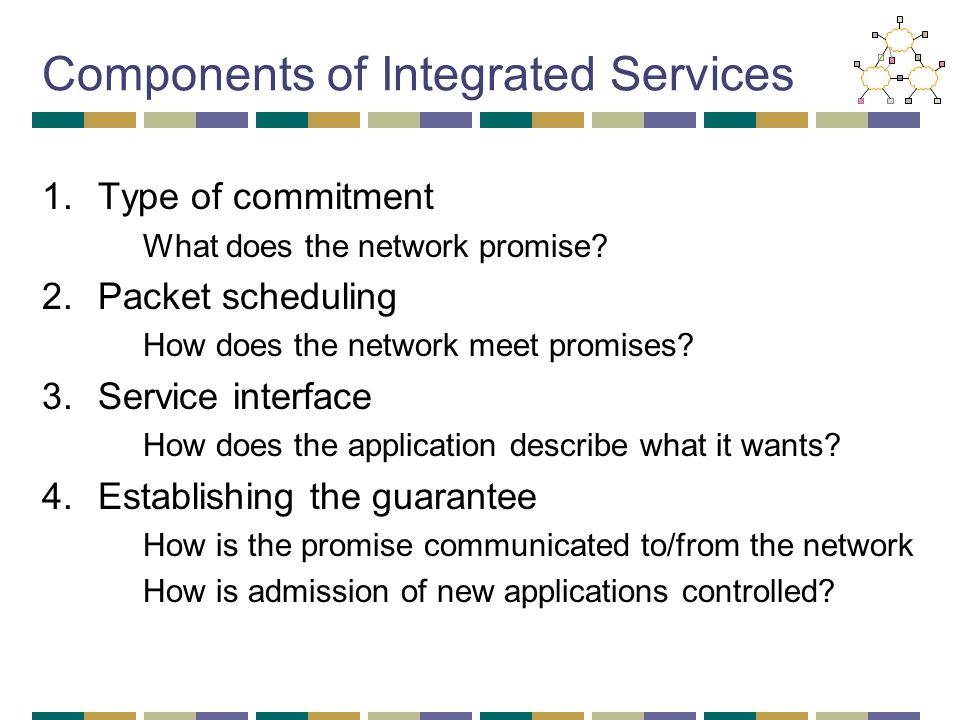 Components of Integrated Services 1.Type of commitment What does the network promise.