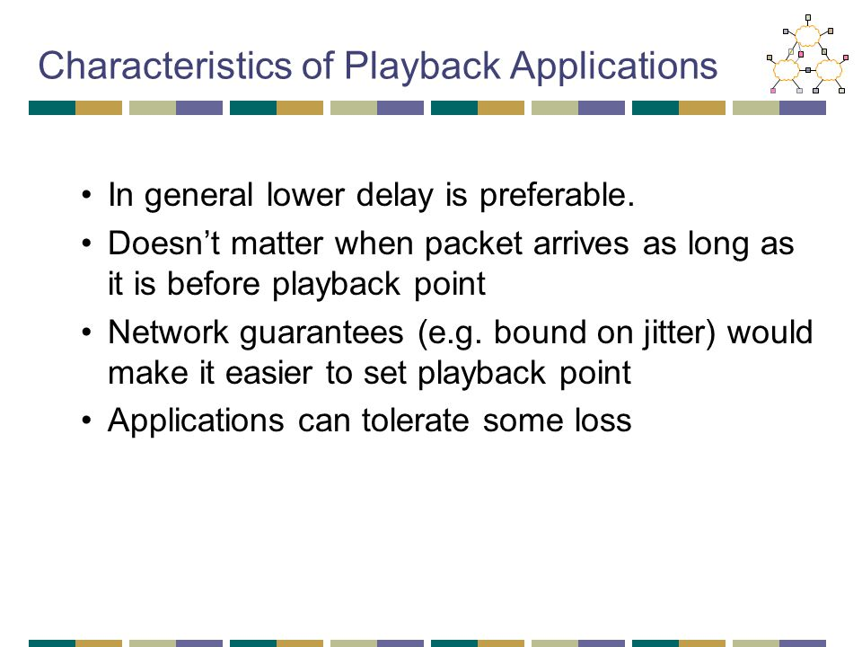 Characteristics of Playback Applications In general lower delay is preferable. Doesn't matter when packet arrives as long as it is before playback poi