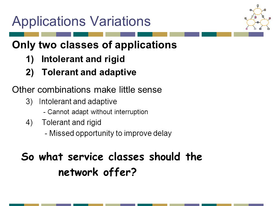 Applications Variations Only two classes of applications 1) Intolerant and rigid 2)Tolerant and adaptive Other combinations make little sense 3) Intolerant and adaptive - Cannot adapt without interruption 4)Tolerant and rigid - Missed opportunity to improve delay So what service classes should the network offer