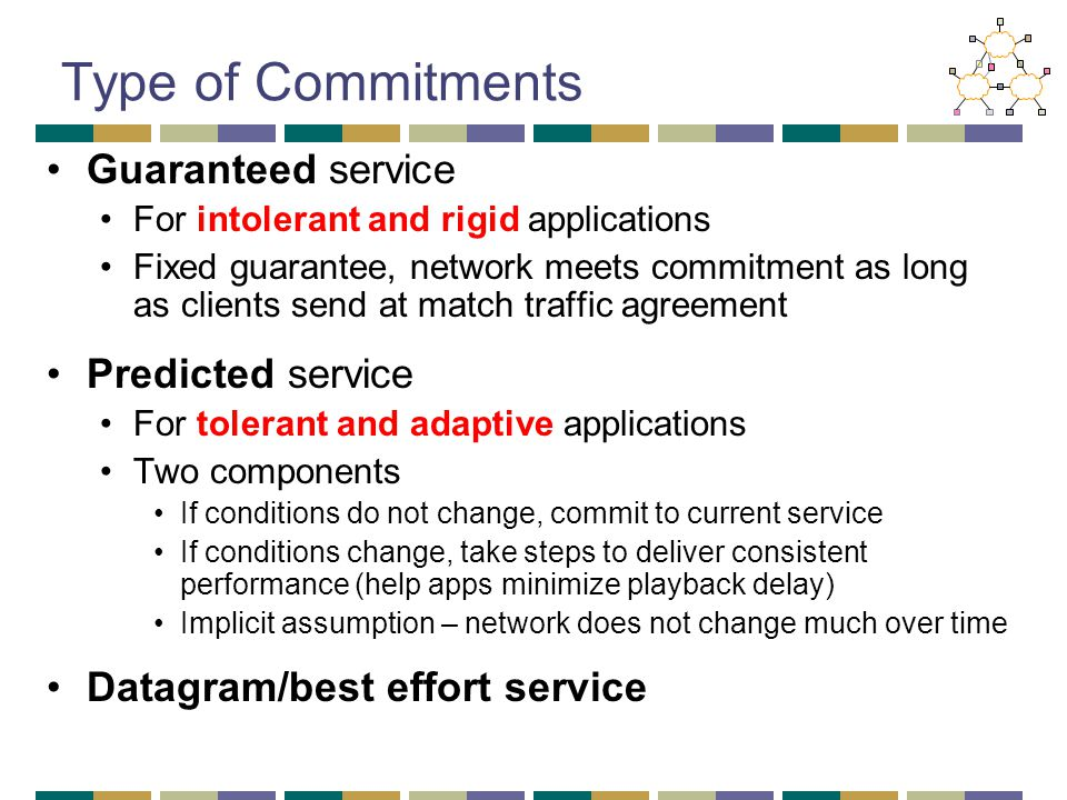 Type of Commitments Guaranteed service For intolerant and rigid applications Fixed guarantee, network meets commitment as long as clients send at match traffic agreement Predicted service For tolerant and adaptive applications Two components If conditions do not change, commit to current service If conditions change, take steps to deliver consistent performance (help apps minimize playback delay) Implicit assumption – network does not change much over time Datagram/best effort service