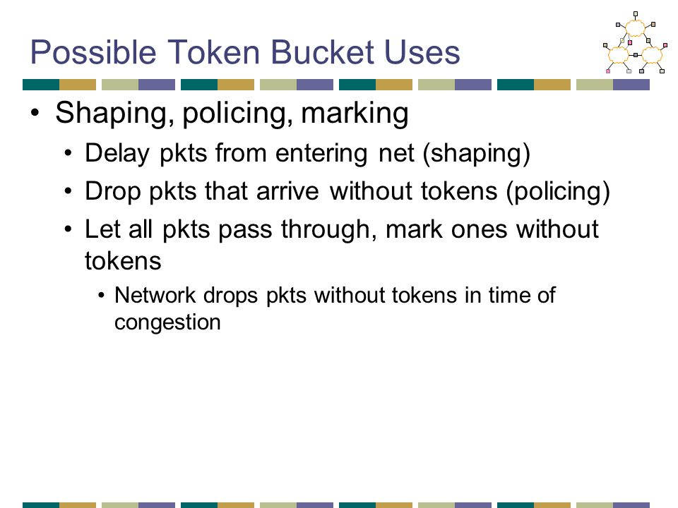 Possible Token Bucket Uses Shaping, policing, marking Delay pkts from entering net (shaping) Drop pkts that arrive without tokens (policing) Let all pkts pass through, mark ones without tokens Network drops pkts without tokens in time of congestion