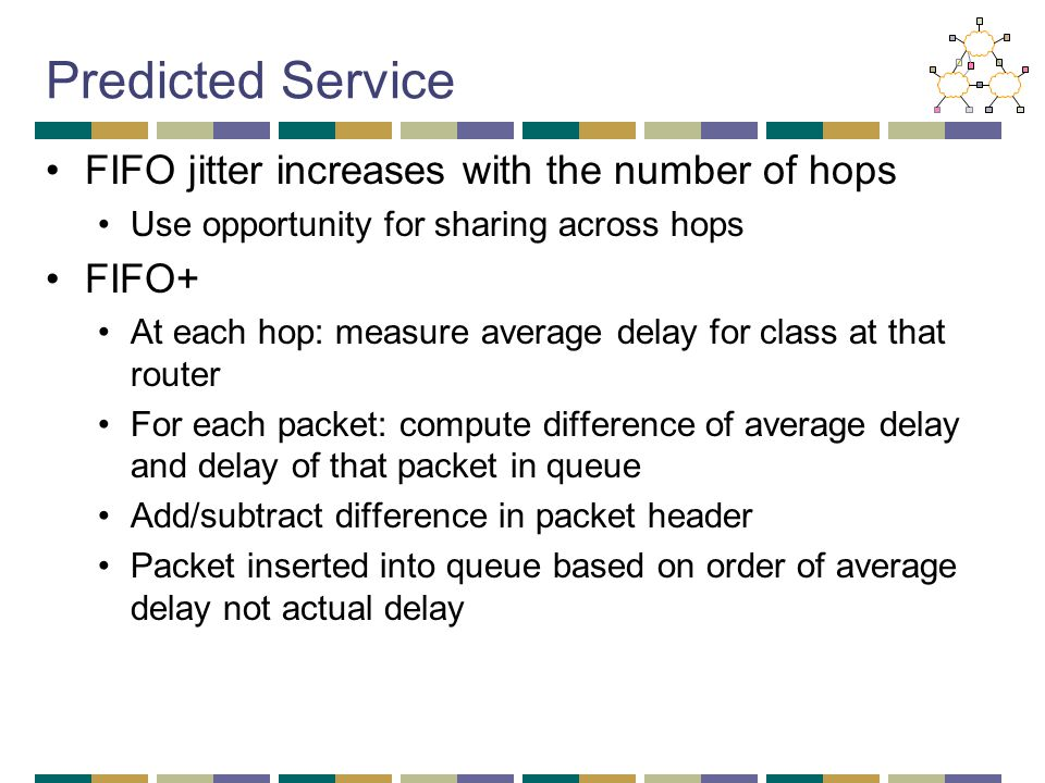 Predicted Service FIFO jitter increases with the number of hops Use opportunity for sharing across hops FIFO+ At each hop: measure average delay for c
