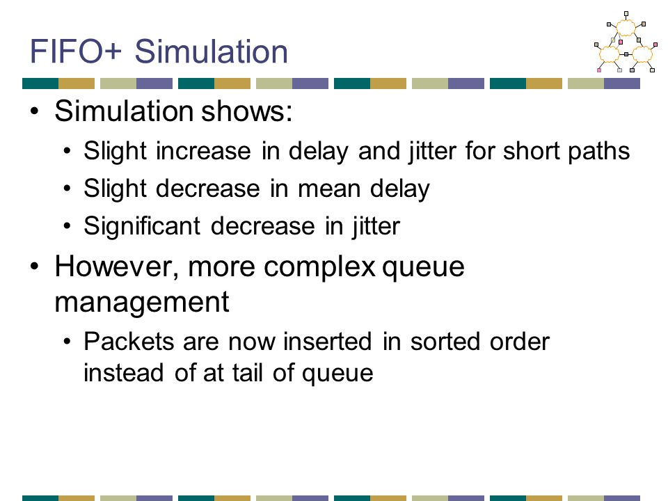FIFO+ Simulation Simulation shows: Slight increase in delay and jitter for short paths Slight decrease in mean delay Significant decrease in jitter Ho