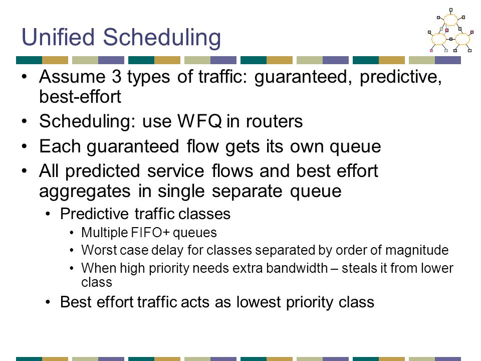 Unified Scheduling Assume 3 types of traffic: guaranteed, predictive, best-effort Scheduling: use WFQ in routers Each guaranteed flow gets its own que