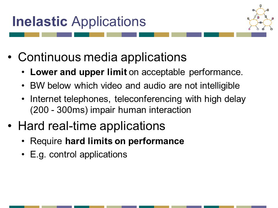 Inelastic Applications Continuous media applications Lower and upper limit on acceptable performance. BW below which video and audio are not intelligi
