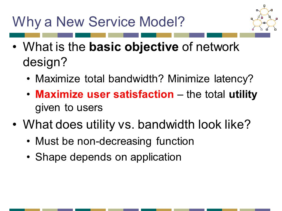 Why a New Service Model? What is the basic objective of network design? Maximize total bandwidth? Minimize latency? Maximize user satisfaction – the t