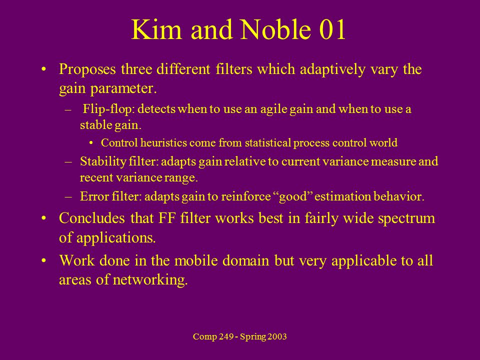 Comp 249 - Spring 2003 Kim and Noble 01 Proposes three different filters which adaptively vary the gain parameter.
