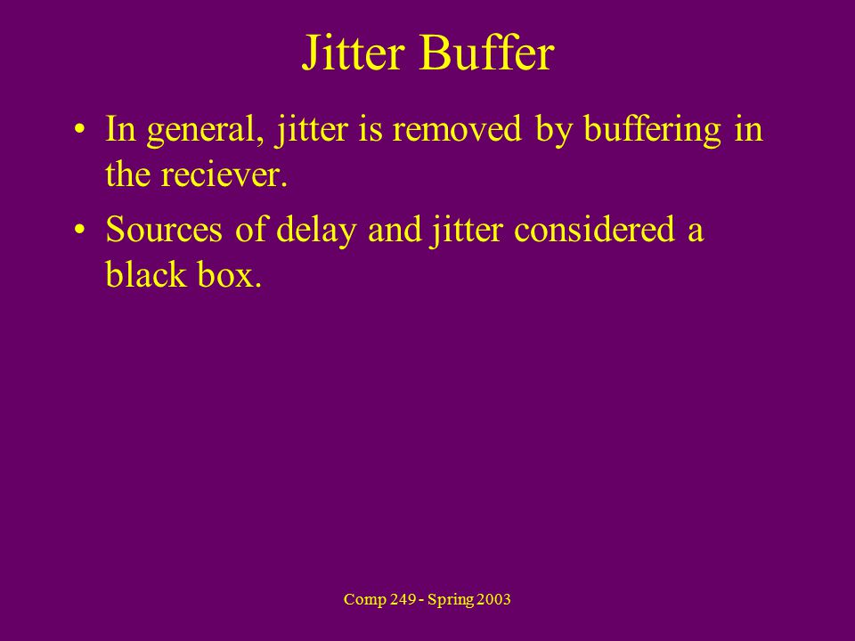 Comp 249 - Spring 2003 Jitter Buffer In general, jitter is removed by buffering in the reciever.