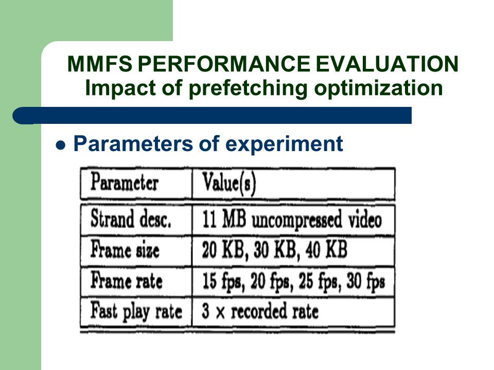 MMFS PERFORMANCE EVALUATION Impact of prefetching optimization Parameters of experiment