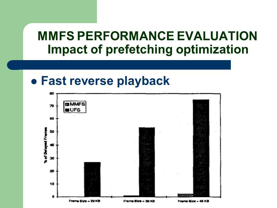 MMFS PERFORMANCE EVALUATION Impact of prefetching optimization Fast reverse playback