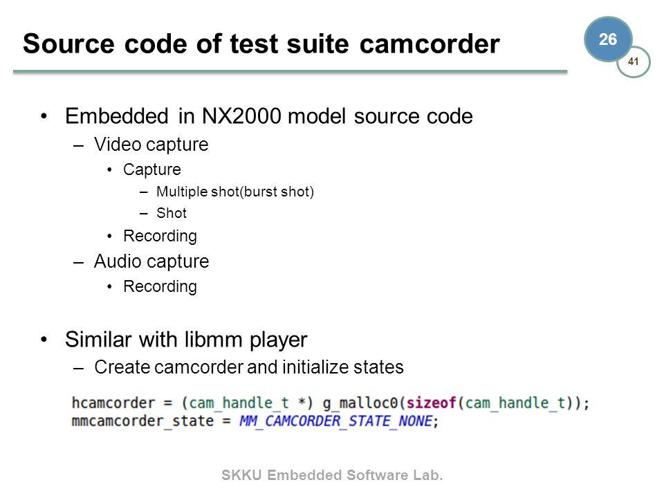 SKKU Embedded Software Lab. 41 26 Embedded in NX2000 model source code –Video capture Capture –Multiple shot(burst shot) –Shot Recording –Audio captur